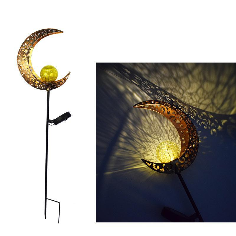Outdoor wrought iron ground plug solar lawn lamp Moon/flame courtyard landscape projection lamp