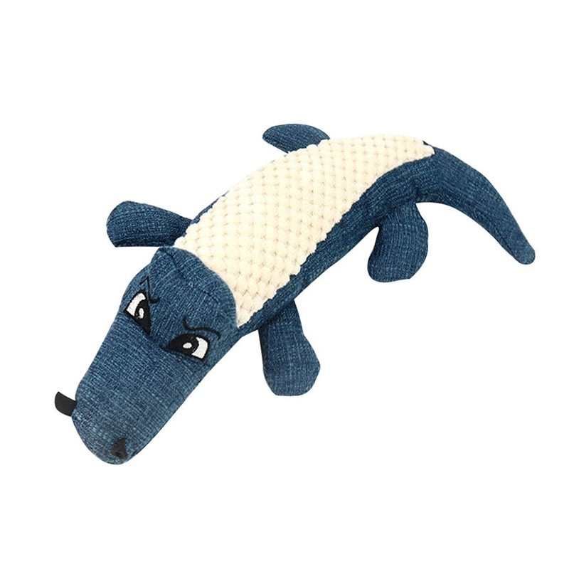 Pet Dog Toys Linen Plush Crocodile Animal Toy Dog Chew Squeaky Noise Molar Props