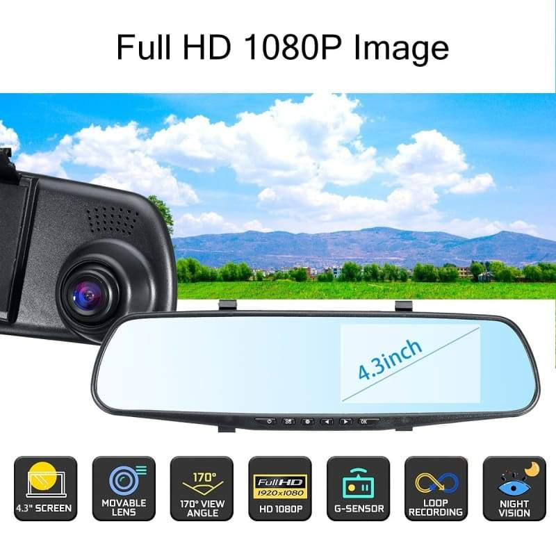 4 Style HD 1080P Dual Lens LCD Car DVR Dash Cam Video Recorder Rear View Mirror Camera 2.8/4.3/4.5inch 120¡ã 170¡ã 140¡ã Wide Angle