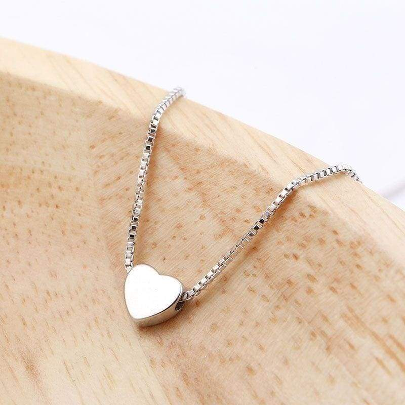 Simple 925 Sterling Silver Love Heart Necklaces Pendants for Women Chokers Necklaces Charms Bohemian Party Jewelry Gifts