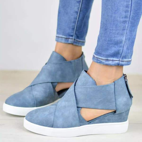 Zoeyootd Criss-cross Cut-out Wedge Sneakers
