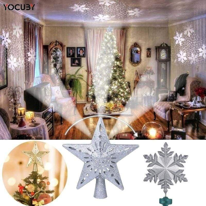 Christmas Tree Toppers, 2-in-1 Silver Glittered Lighted Tree Topper with Snowflake Projector,Star Tree Topper or Snow Tree Topper, Indoor Night Light Projector for Christmas Nursery Bedroom Holiday Decoration