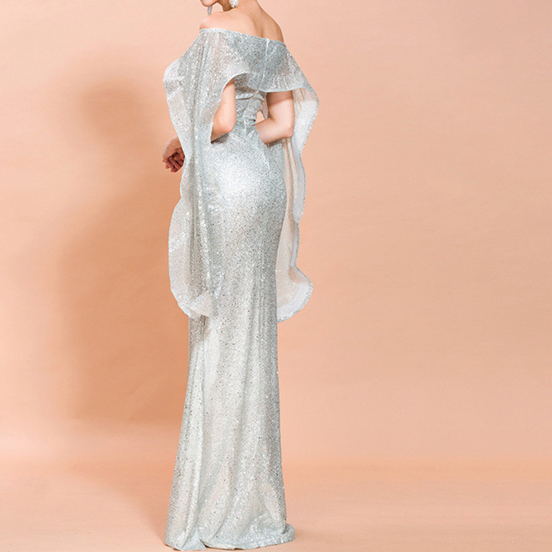 One-Shoulder Ruffled Tail Party Evening Dress