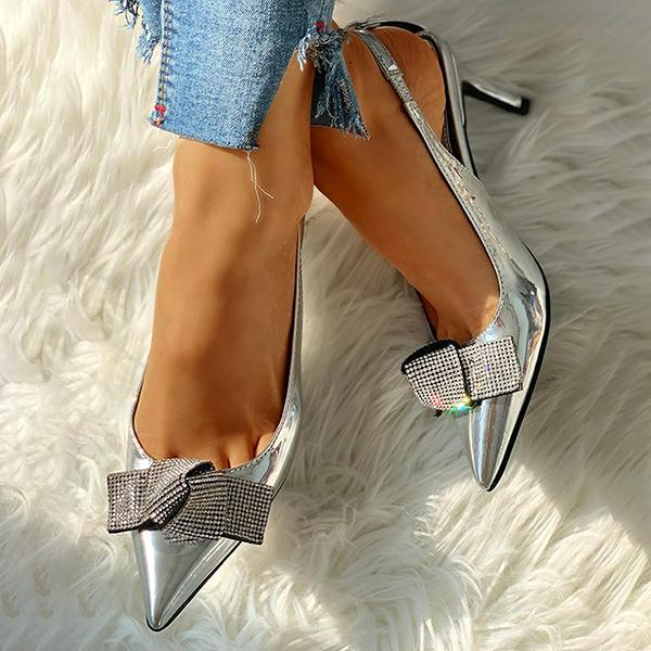 Zoeyootd Pointed Toe Studded Bowknot Slingback Thin Heels