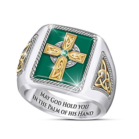 Fashion Emerald Mens Ring Elegant 925 Sterling Silver Cross Men Wedding Party Rings