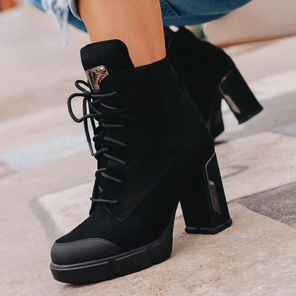 Zoeyootd Suede Fashion Strappy Platform High Heel Ankle Boots