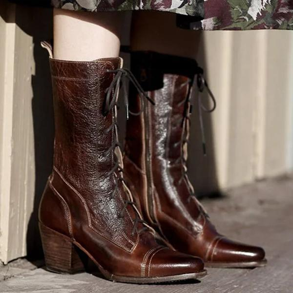 Upawear Plus Size Viantage Leather Lace Up Chunky Heel Boots
