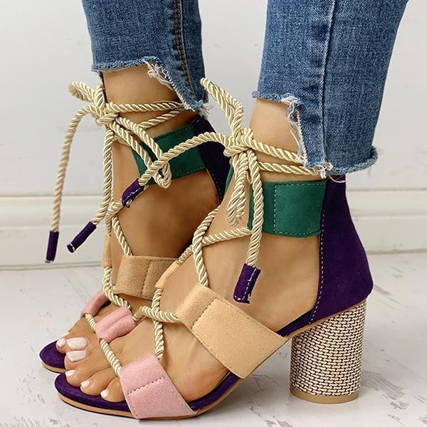 Zoeyootd Colourblock Lace-up Chunky Heels Open Toe Sandals
