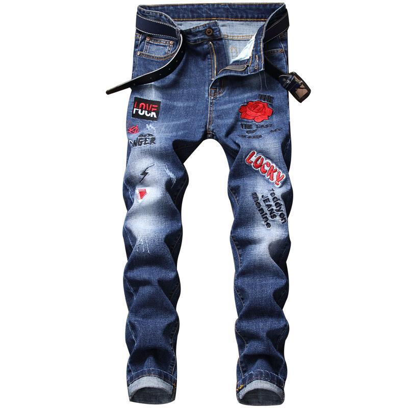 Fuck Love Embroidery Slim Fit Jeans Pant
