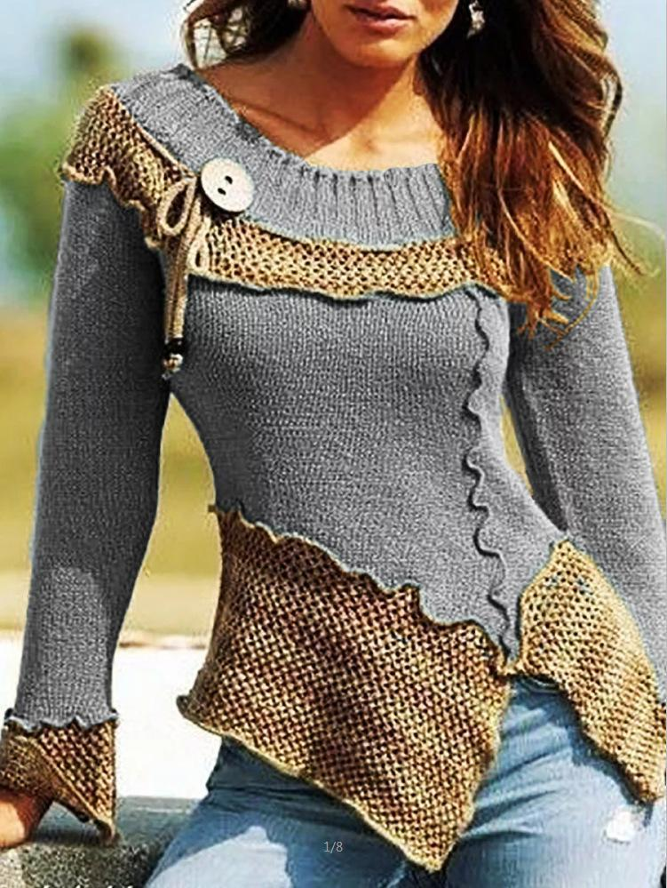 Vintage Asymmetrical Shift Long Sleeve Crew Neck Sweater