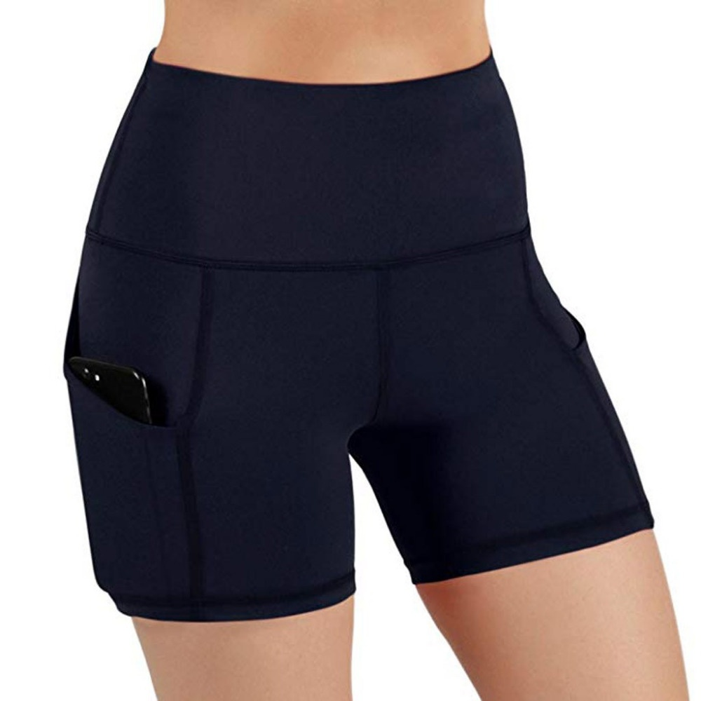 New Women Fashion Solid Color Safety Shorts Yoga Running Shorts Short Leggings with Pockets S-3XL