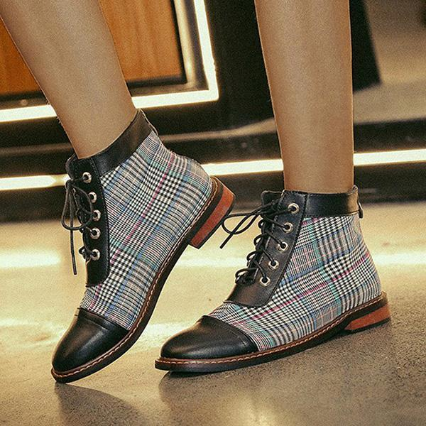 Mokoshoes Round Toe Combat Boots Chunky Heel Lace-Up Fall Shoes