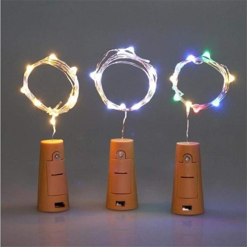2PCS Wine Bottle Cork Lights Copper Wire Lights LED Fairy String Lights Wedding Festival Party Decor