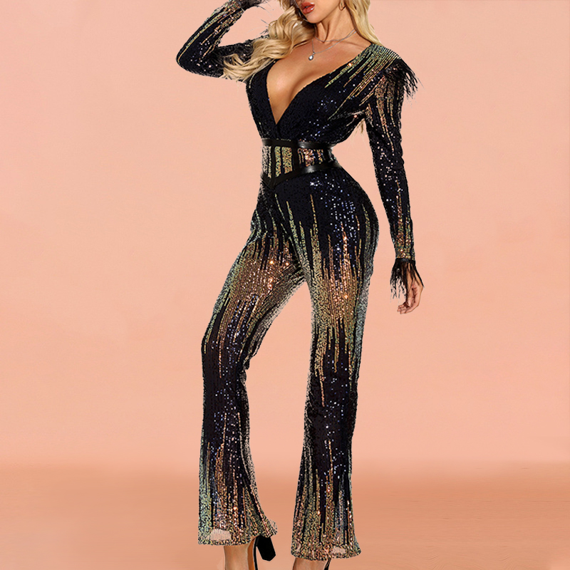 Fashion V-Neck Sequin Jumpsuit With Belt