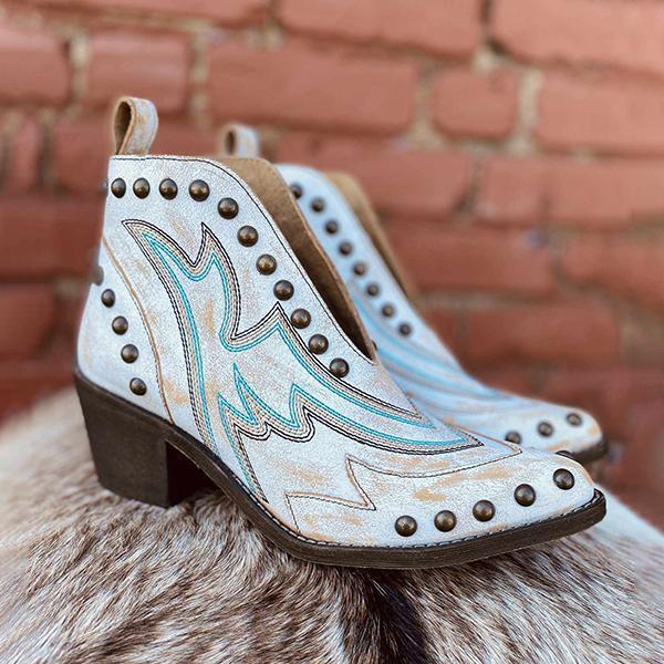 Mokoshoes Fashion Rivet White Blue Boots