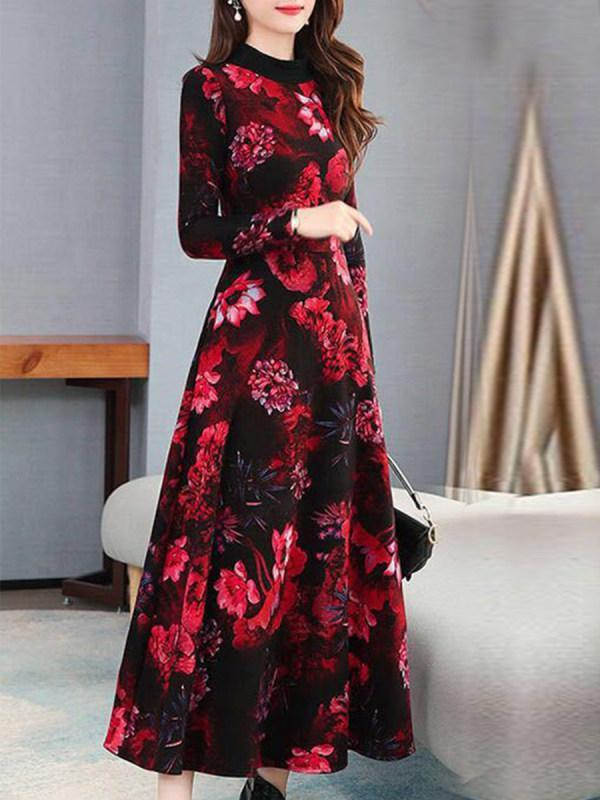 Womens Printed Long Dress Over the Knee Maxi Dress
