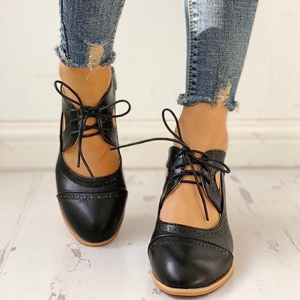 Mokoshoes Lace-Up Cut Out Chunky Heels