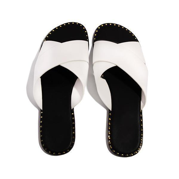 Mokoshoes Strap Crossover Detail Cushioned Insole Slippers