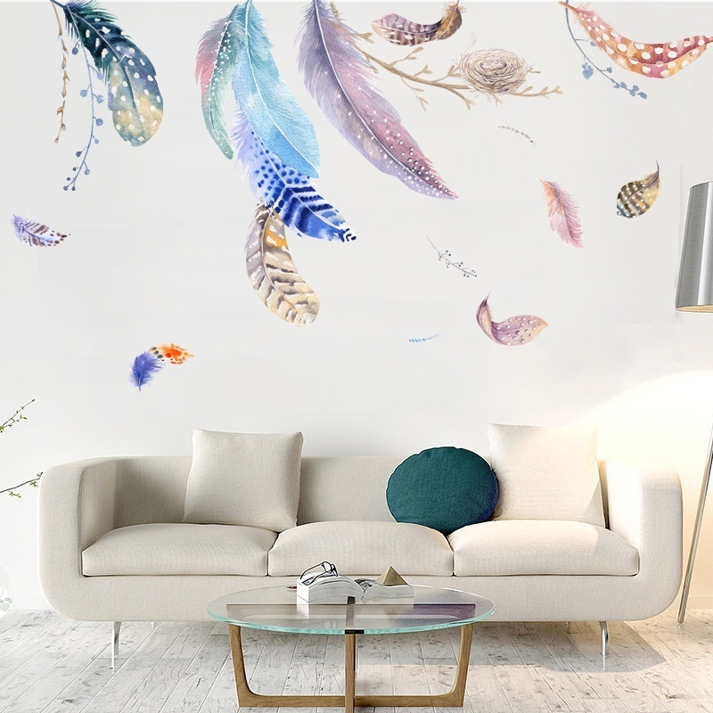 Nordic Art Wall Dacel Feather Wall Sticker Living Room Bedroom Children Room Home Decoration