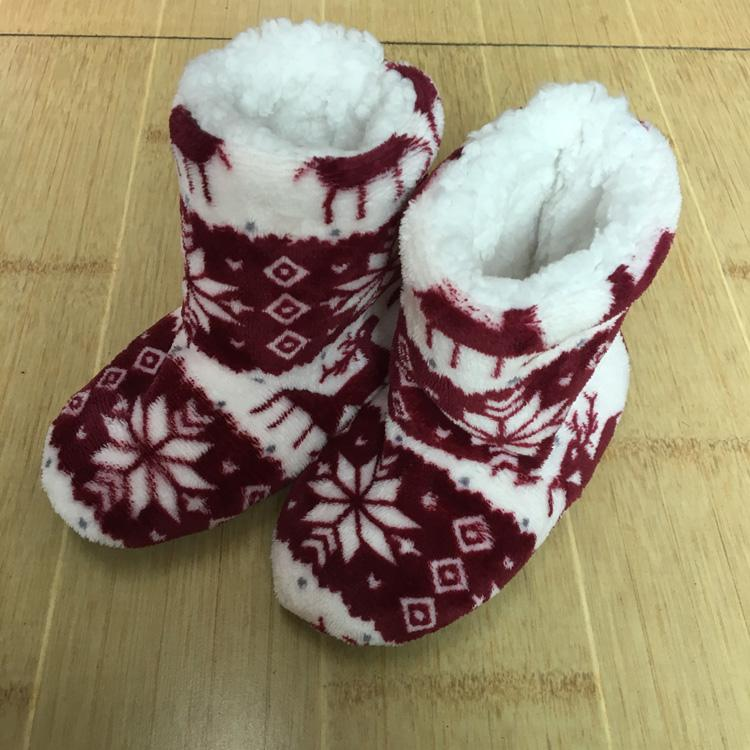 Winter Coral Fleece Indoor Yoga Lining Faux Fur Warm Home Christmas Deer Print Women Slippers