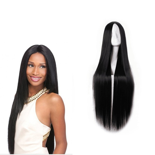 70cm/80cm/100cm Halve Long Straight Synthetic Wigs Hairpiece Beauty Accessory for Women Girls