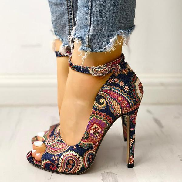 Mokoshoes Ethnic Print Peep Toe Ankle Strap Thin Heeled Sandals