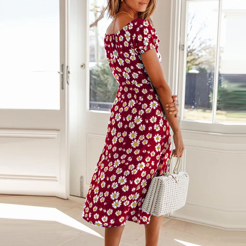 Mid-Calf Lace-Up Short Sleeve Square Neck Travel Look Women's Dress