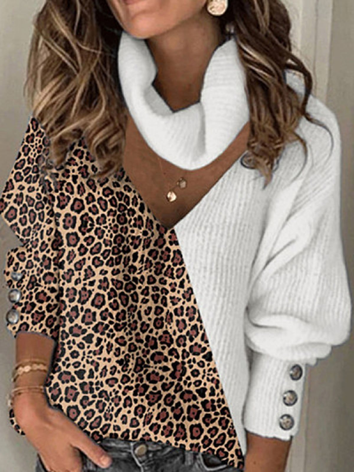Casual Long Sleeve Leopard Print  Patchwork Sweater