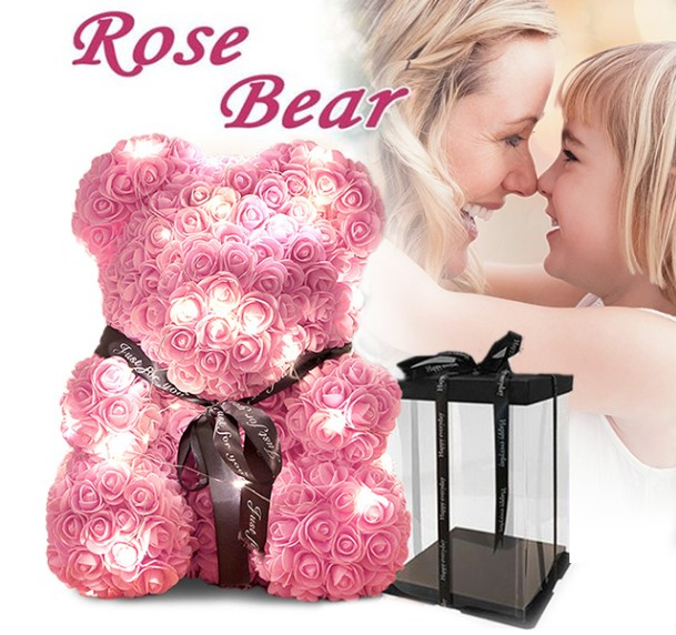 White Rose Teddy Bear with Gifts Box & Gifts Card & LED Lights