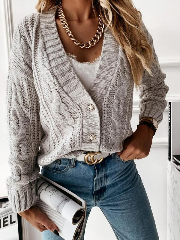 Bonnieshoes Solid Cable-Knit V-Neck Casual Cardigan