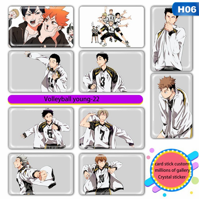 10 Pcs/set Anime Haikyuu!! Figures Card Stickers Ic Card Paster