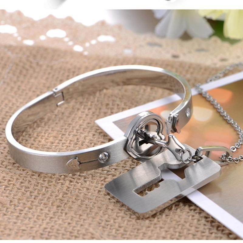 Heart Lock Bracelet & Key Necklace Set (With Free Moon Necklace)