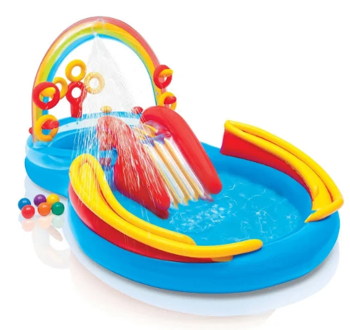 INFLATABLE PLAY CENTER RAINBOW RING KIDS POOL SLIDE WATER SPRAYER SUMMER GAME