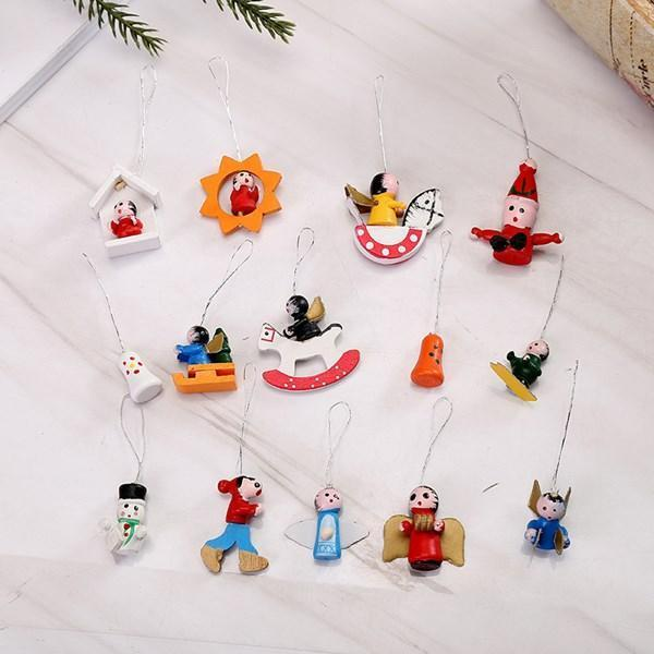 🎅Christmas Decoration Hand-painted Wooden 48 Pieces Pendants