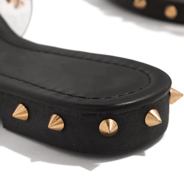 Mokoshoes Multi-Sized Studs Clear Strap Slippers