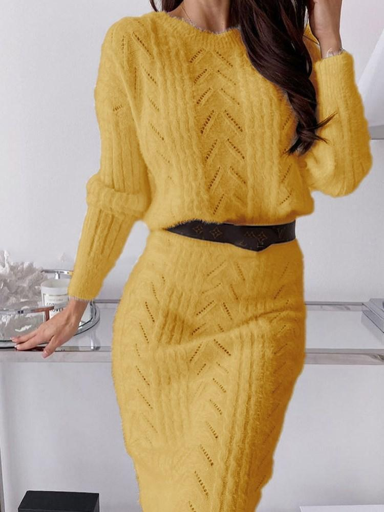 Long Sleeve Round Neck Mid-Calf Regular Casual Dress
