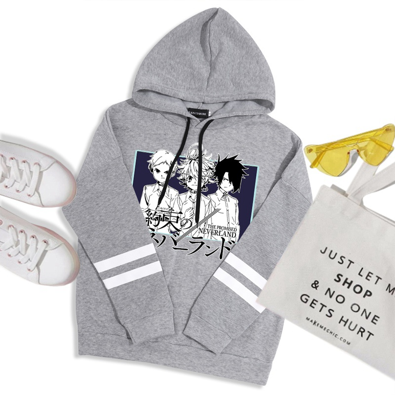Unisex Cool Game Promised Neverland Harajuku Unisex Hoodies Oversized Funny Cartoon Sweatshirt Hip Hop Graphic Anime Hoody