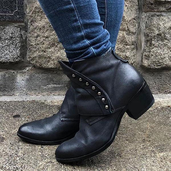 Bonnieshoes Trendy Vintage Side Zipper Rivet Ankle Boots