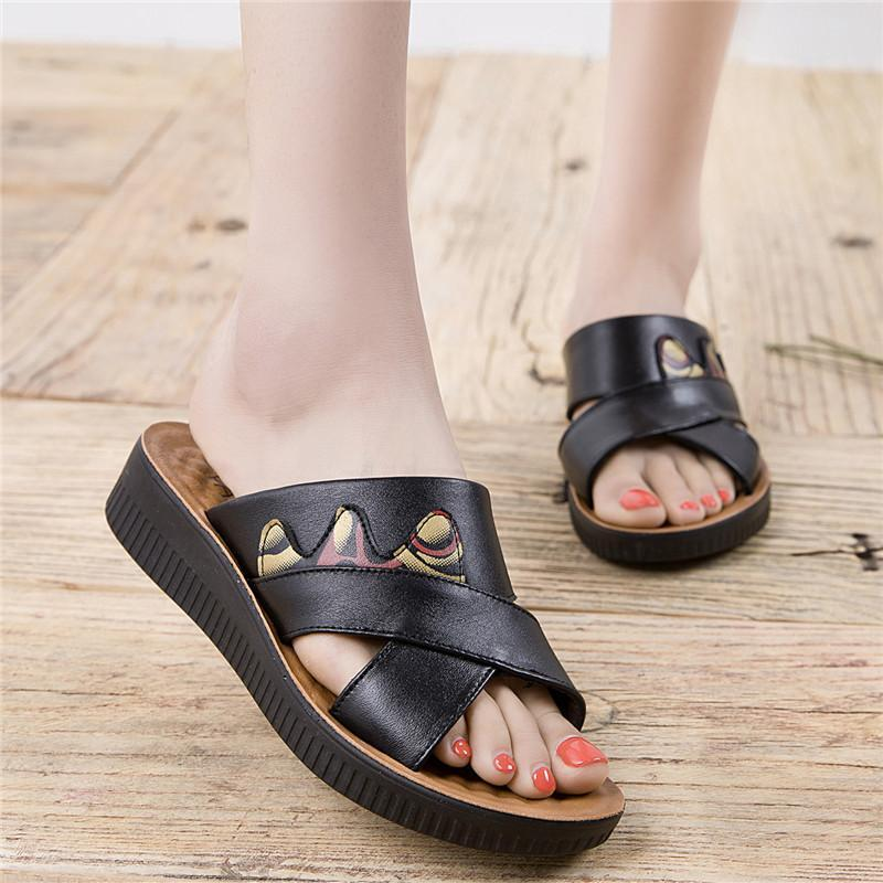 Women's  Leather Soft Bottom Sandals Slippers