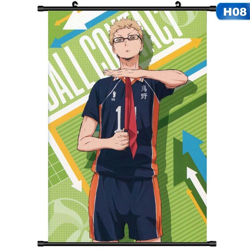 Anime Haikyuu High School Volleyball Hanging Painting Poster Scroll Home Decor Cosplay 20X30Cm(7.9Inx12In)