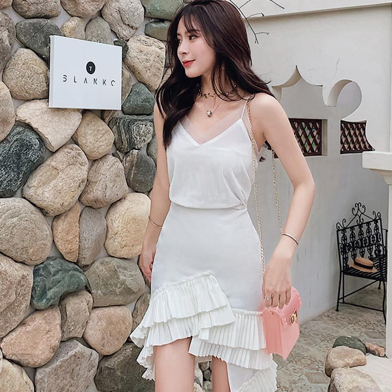 Casual Sling Top and Ruffle Skirt 2Pcs Suit