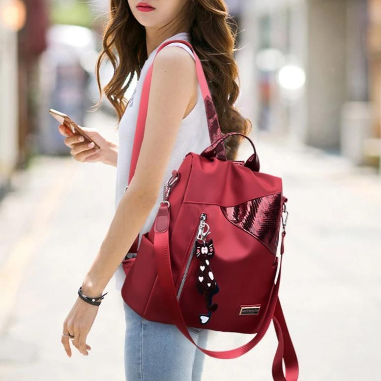 Simple style Oxford cloth backpack anti-theft