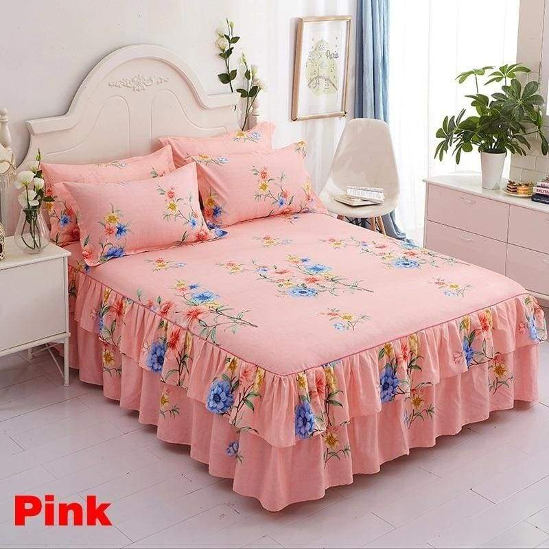 Single/Twin/Full/Queen/King 11 Colors Floral Printed Bedspread Bedskirts Set Bedskirt with Pillowcases