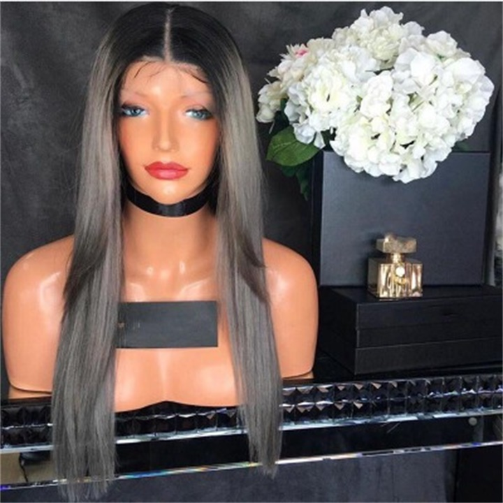 ✨New Sale 40% OFF ✨Gray Long Straight Hair Center Wig