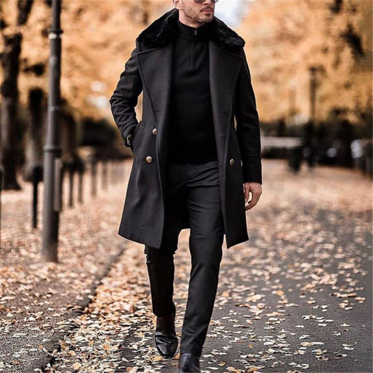 Winter Mens Slim Stylish Trench Coat Thick Double Breasted Long Jacket