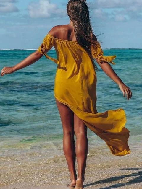 Mokoshoes Daily Beach Sleeveless Solid Off Shoulder Dress