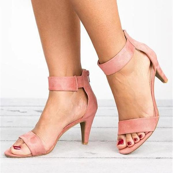 Bonnieshoes Ankle Strap Mid Thin Heel Sandals