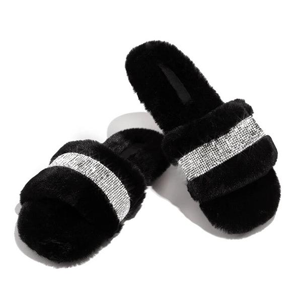 Bonnieshoes Women Strap Slide Fluffy Slippers