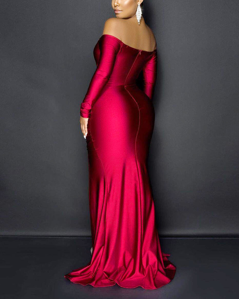 Off-The-Shoulder Solid Color Split Evening Dress