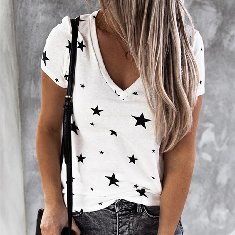 Women Summer Loose Cotton Pullover Blouse Casual Stars Printed V Neck Short Sleeves Plus Size T-Shirt